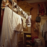 RUSSIA / St.Petersburg / June 2007 / Drying laundry in a communal appartment. Lack of space is one of the main pains for those who live in communal housing.