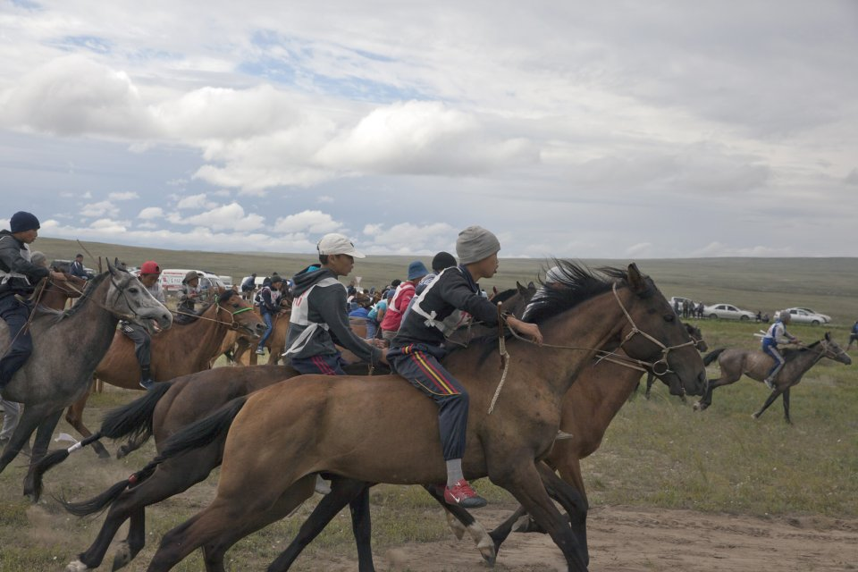 Start of the yearly 15-km horse race as part of Naadym farmers' fest. Tuvan race rules allow neither saddles nor helmets. Boys can become jockeys since the age of 6. Tos-Bulak, Tuva, Russia.