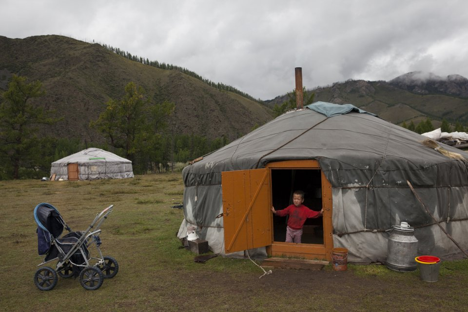 There are often two yurts at a nomadic station, meaning there are two generations of one family living one next to the other. Kachyk river valley, southeastern Tuva.