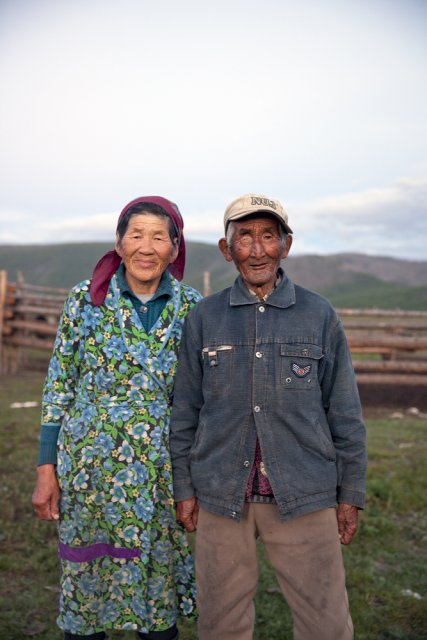 Nyura Bary-Khoo, 70, and Balchyn Kenden, 78, have been making a living as nomadic shepherds for their entire life. Mrs Bary-Khoo served as member of parliament of Soviet Tuva from 1975 to 1980 but then returned to her home area - the remote Kachyk river vallery in southeastern Tuva bordering Mongolia.
