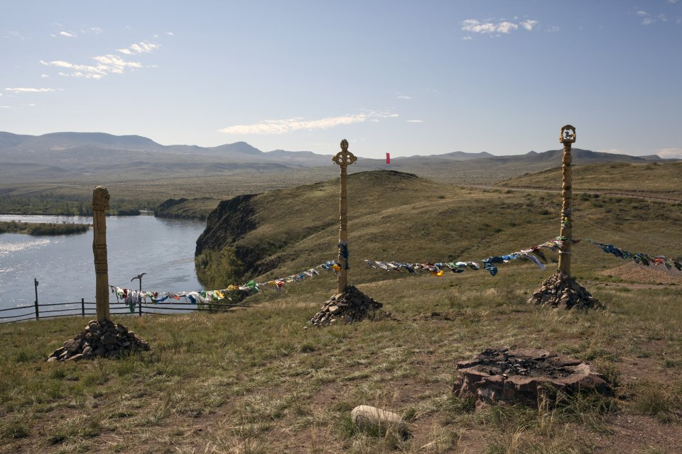 An ovaa - a sacred place - for Tuvan hoomeizhi (the throat singers) at Balik-Kharaar on the left bank of the Yenissei river