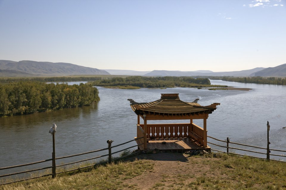 A lookout at an ovaa - a sacred place - for Tuvan hoomeizhi (the throat singers) at Balik-Kharaar on the left bank of the Yenissei river
