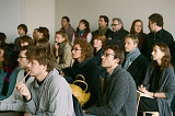 Strelka Institute for Media, Architecture & Design. Students at the first lecture given by Dutch architect Rem Koolhaas.